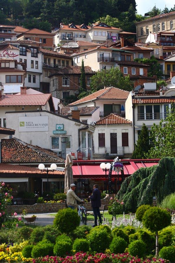 Ohrid miasta Starzy domy, Macedonia zdjęcia royalty free