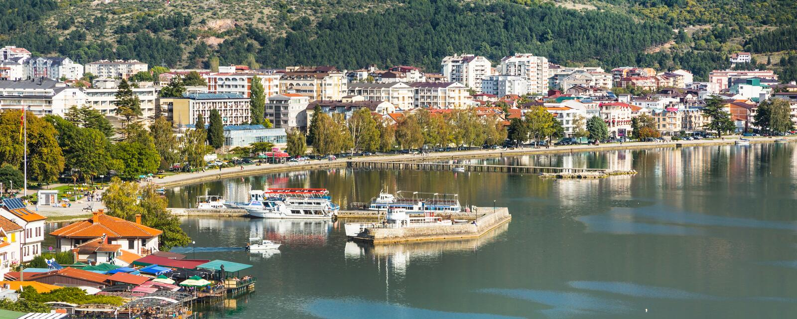 Ohrid panoramic aerial view, Republic of Macedonia royalty free stock photography