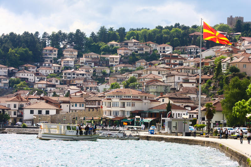 Ohrid starego miasta panoramiczny widok, Macedonia fotografia stock