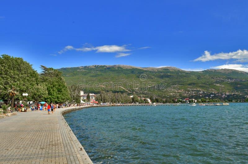 Ohrid z Ohrid jeziorem, Macedonia obrazy stock