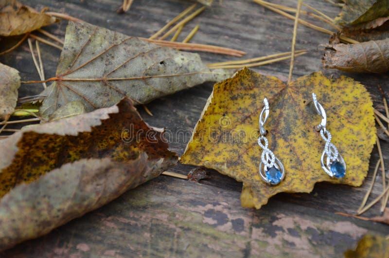 ohrringe schmucksachen mit Topas oder Saphir großer blauer Stein auf einem Weinlesehintergrund Herbst Blätter stockfotos