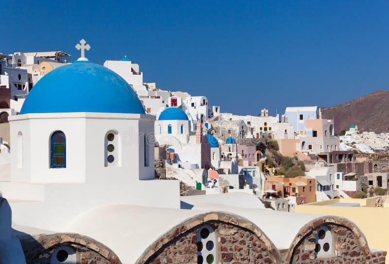 Oia或Ia老镇在圣托里尼海岛 库存照片
