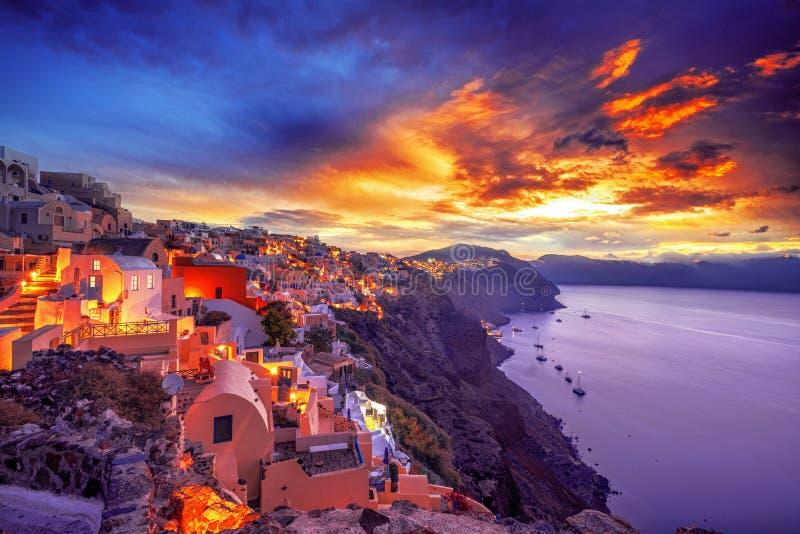 Oia或Ia老镇在海岛圣托里尼上 免版税库存图片