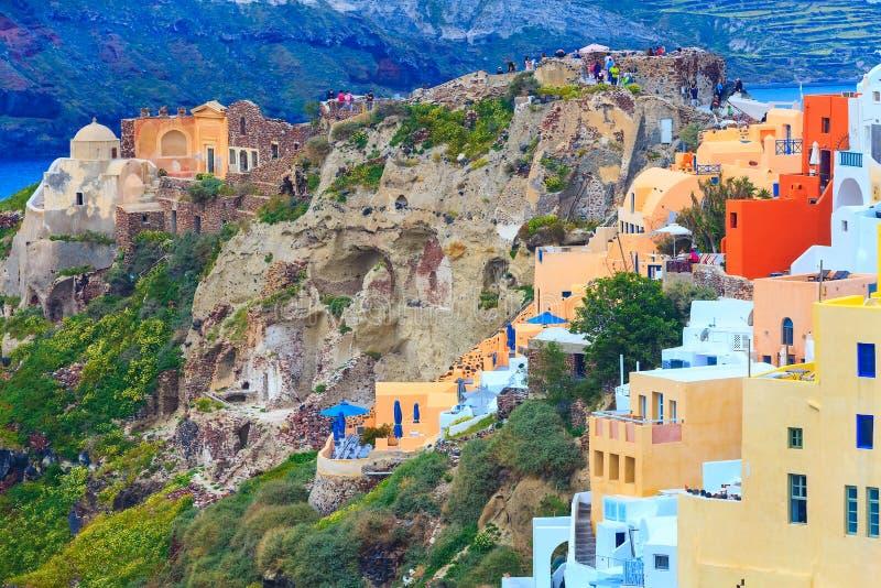 Oia村庄在圣托里尼海岛在希腊 库存照片