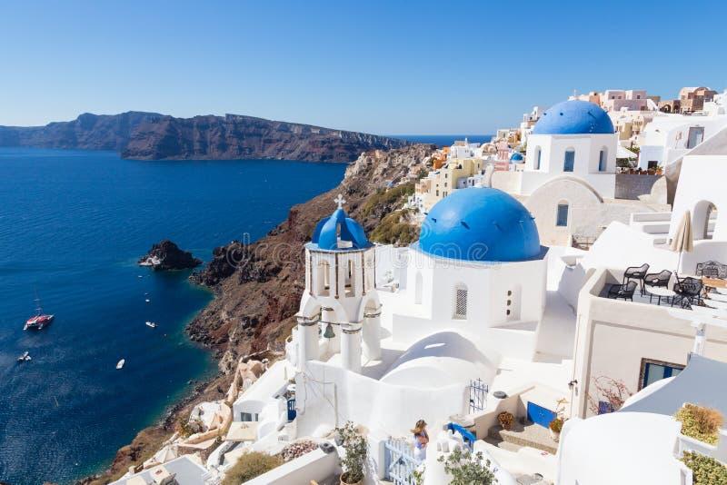Oia,圣托里尼海岛,希腊传统希腊村庄  免版税图库摄影