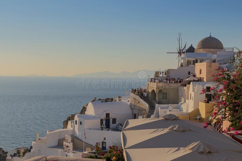 Oia,圣托里尼美好的日落至多著名地方  Gre 免版税库存照片