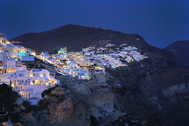 Oia,圣托里尼,希腊美好的夜视图  免版税库存照片