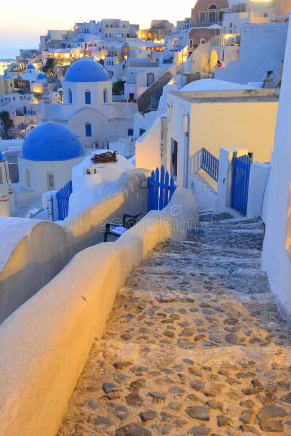 Oia,圣托里尼(锡拉),希腊-日落场面 库存图片
