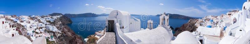 Oia,桑托林岛,希腊全景 免版税库存照片