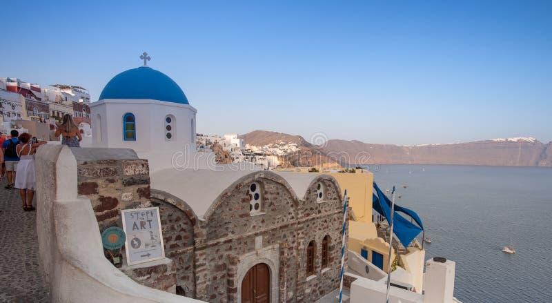 Oia πόλη σε Santorini Ισλανδία Ελλάδα στο θερινό χρόνο στοκ εικόνες