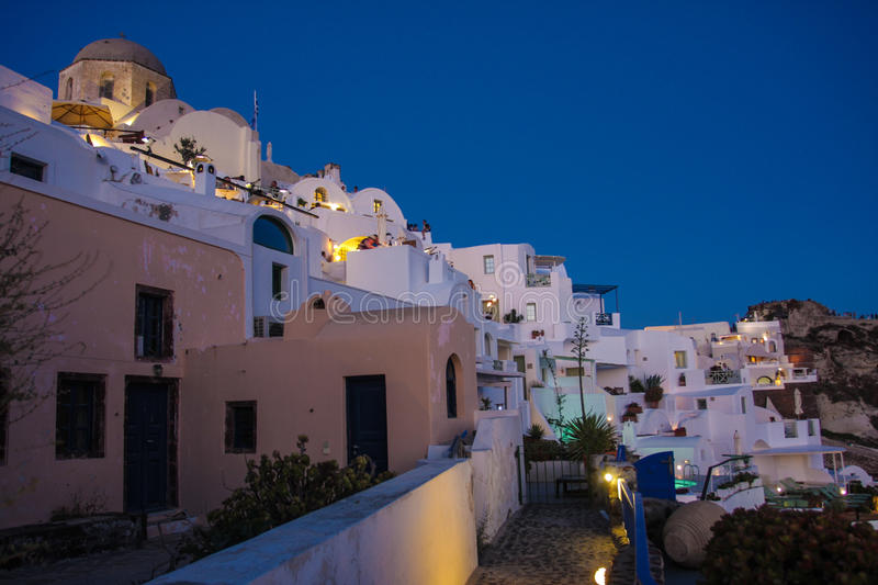 Oia city, Santorini island by night royalty free stock image