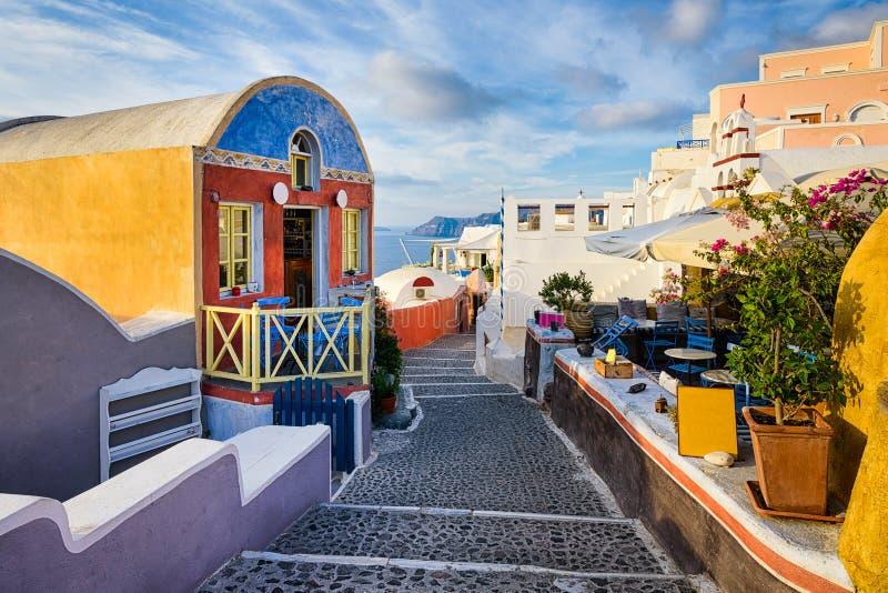 Oia-Dorf, Santorini, Griechenland stockfoto