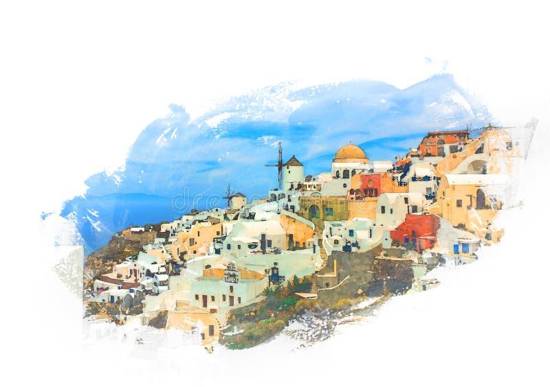 Oia-Dorf, Santorini Insel, Griechenland stockfotos