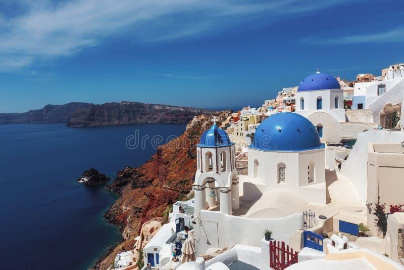 Oia dorp in eiland Santorini in Griekenland stock fotografie