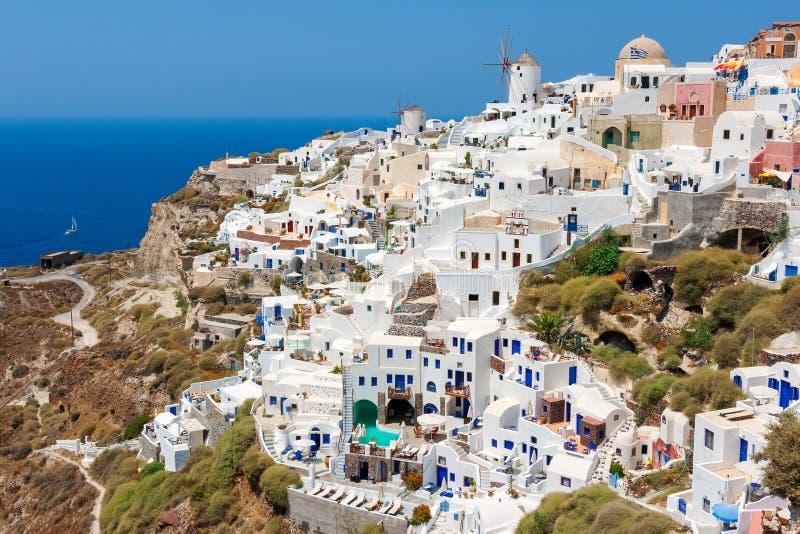 Oia dorp Santorini, Griekenland stock foto's