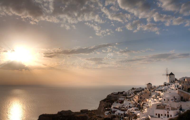 Oia Lightshow, Santorini, Griechenland stockbilder