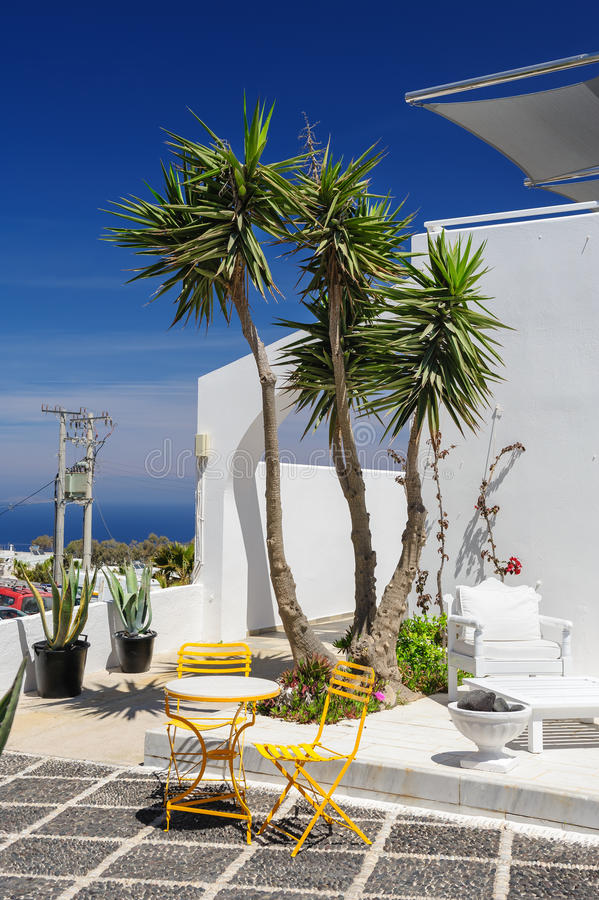 Oia luxury decks and patios. Luxury decks, pensions and patios of Fira, Santorini, Greece royalty free stock images