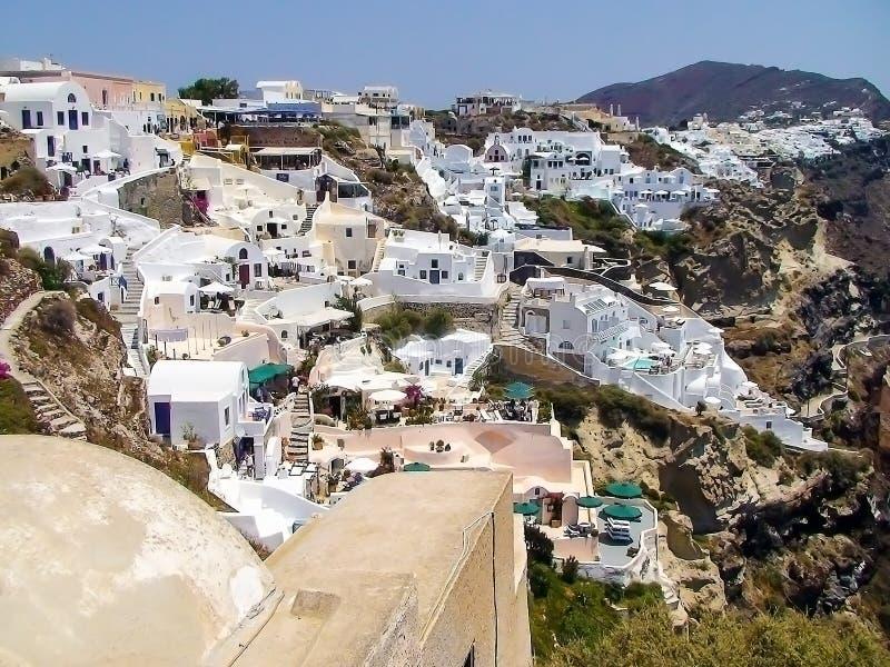 Oia no console de Santorini foto de stock