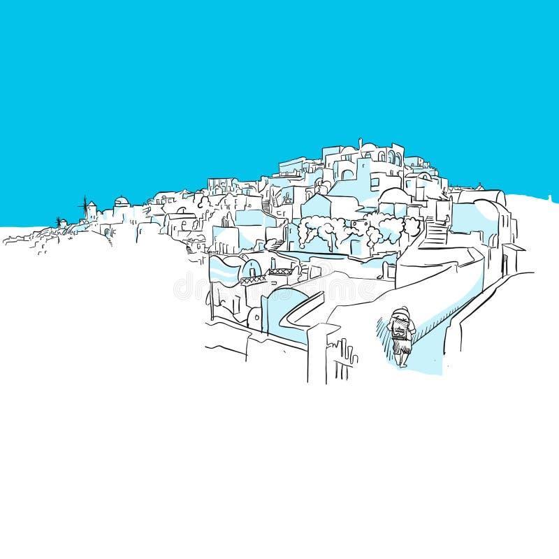 Oia panorama, Grekland, blå serie stock illustrationer