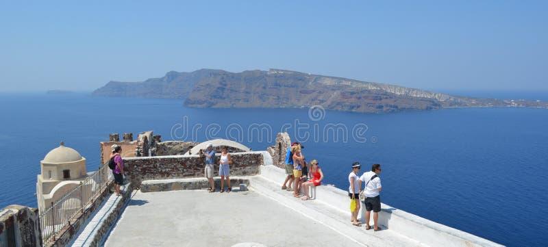 Oia Santorini Thirassia Island in Background stock photos