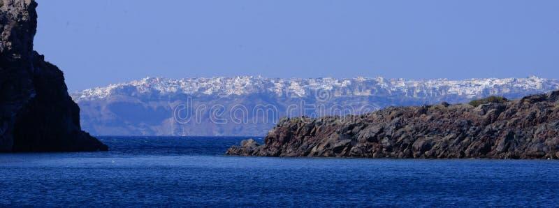Oia stad op Santorini-eiland stock fotografie