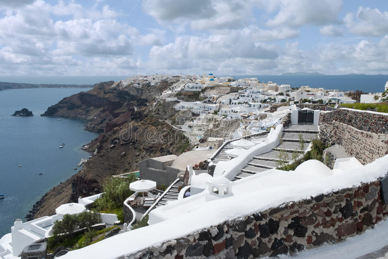 Oia stad på den Santorini ön, Grekland royaltyfria foton