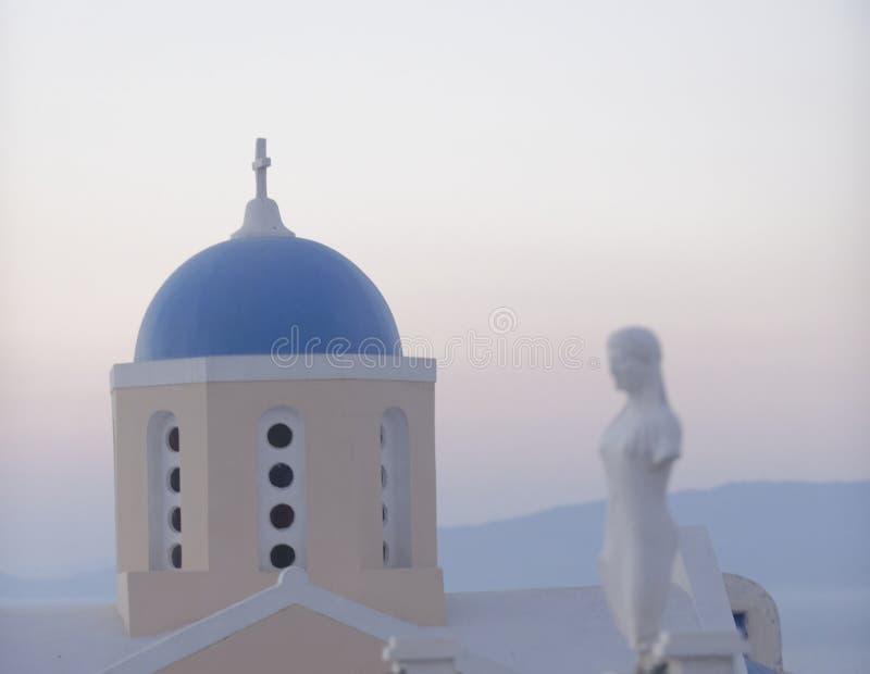 Oia-Stadt auf Santorini-Insel stockbild
