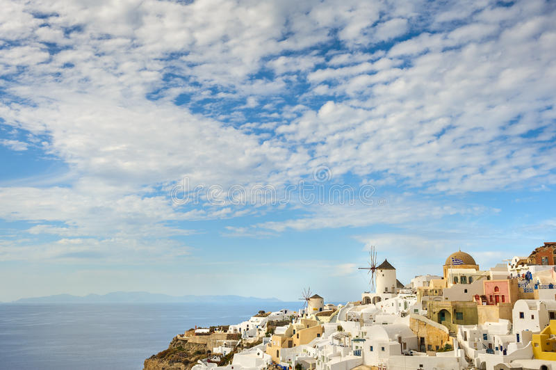Oia before sunset at Santorini, Greece royalty free stock photography