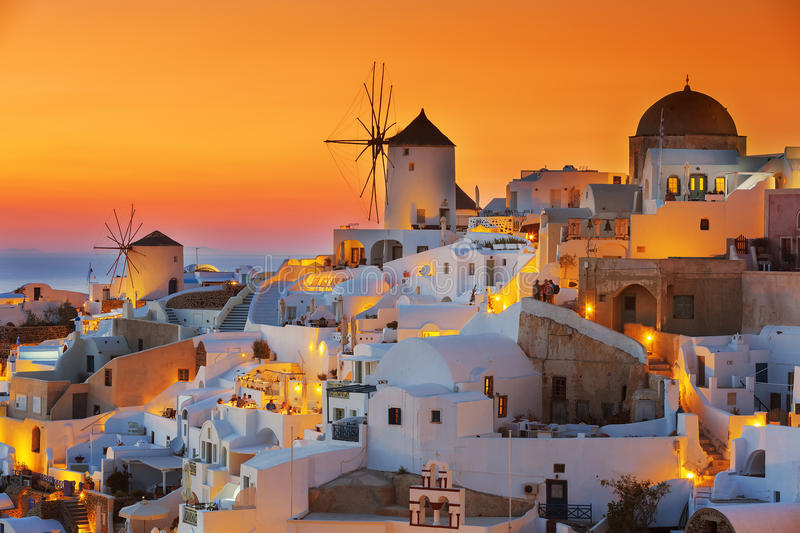 Oia at sunset stock images
