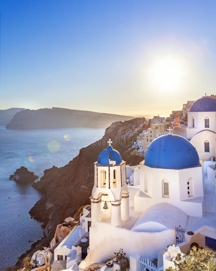 Oia town on Santorini island, Greece. Thira village in the sunset with view onthe sea stock image