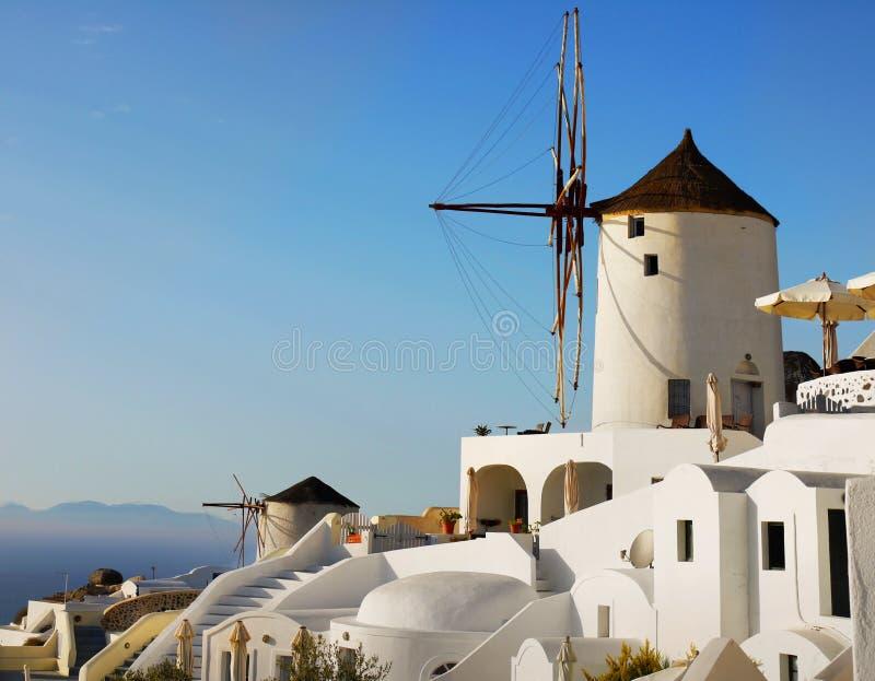 Oia Town Santorini island, Windmill, Greece royalty free stock photo