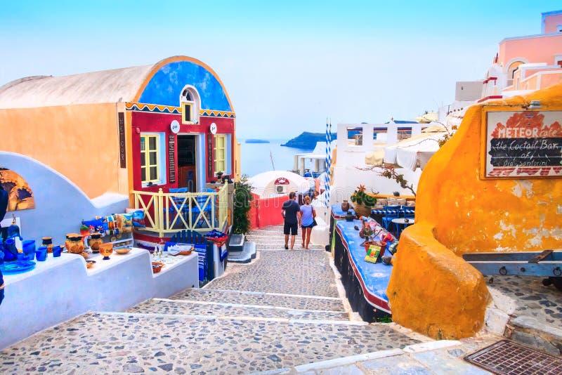 Oia ulica, Santorini wyspa w Grecja obraz royalty free