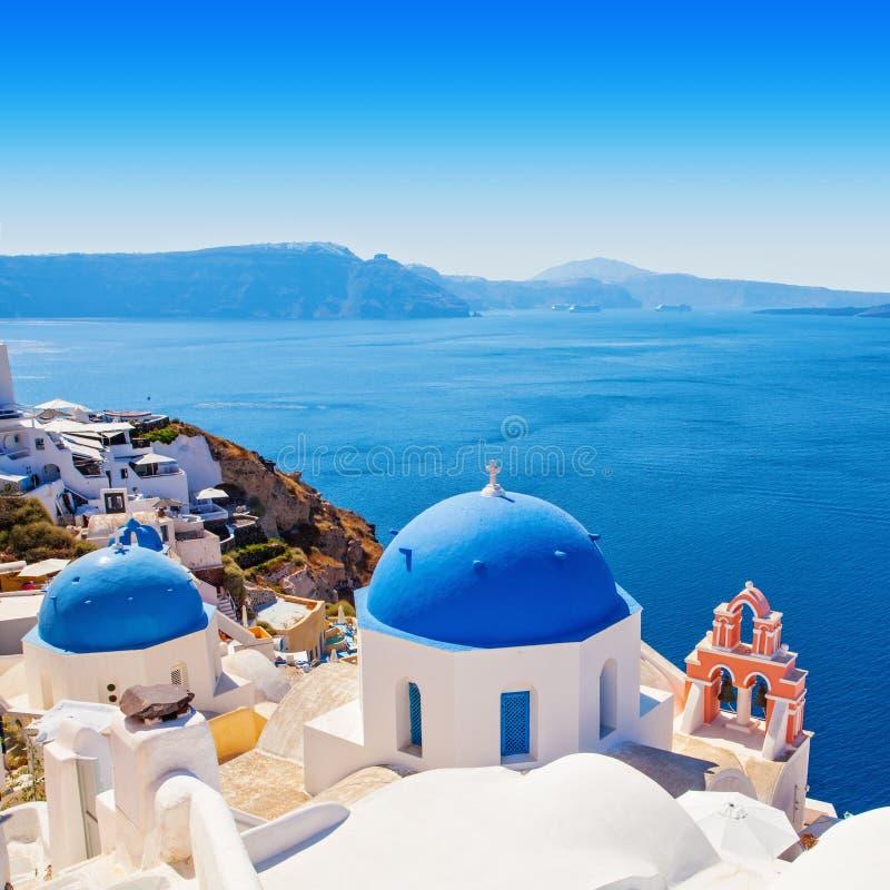 Oia village, Greece landmark. Church of Santorini and white houses.  royalty free stock image
