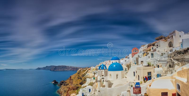 Oia village in Santorini island in Greece stock images