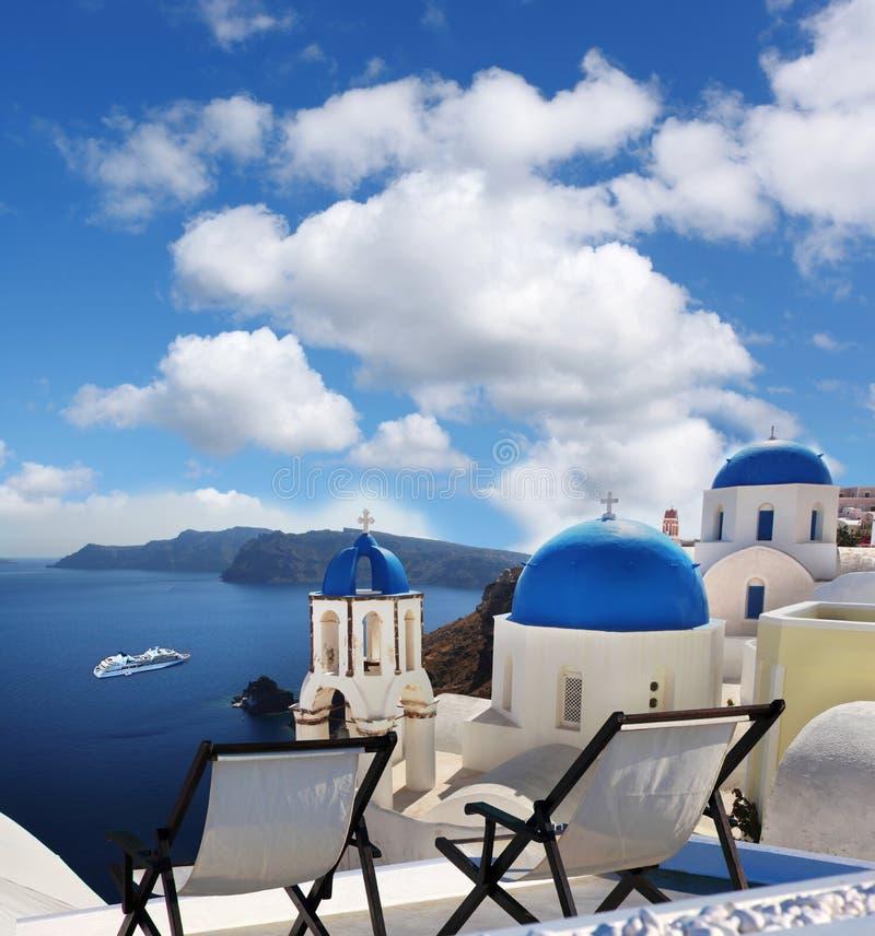 Oia village in Santorini island, Greece stock photography