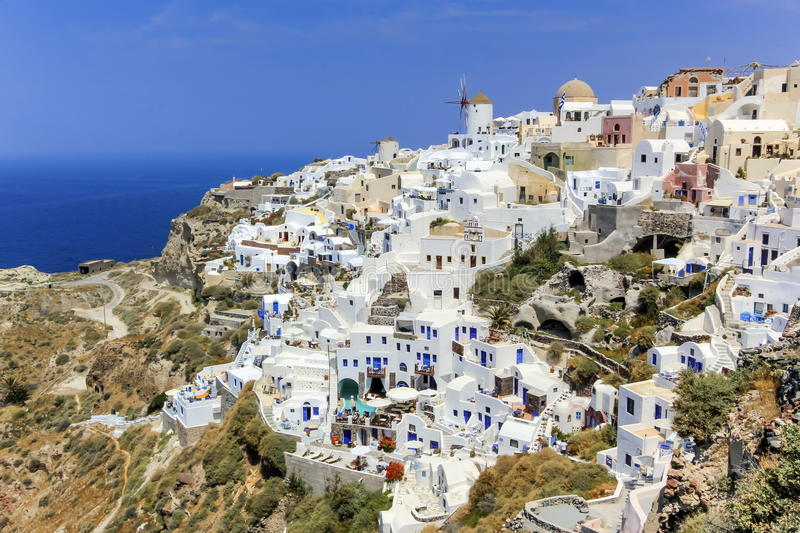 Oia village on Santorini island, north, Greece stock photography