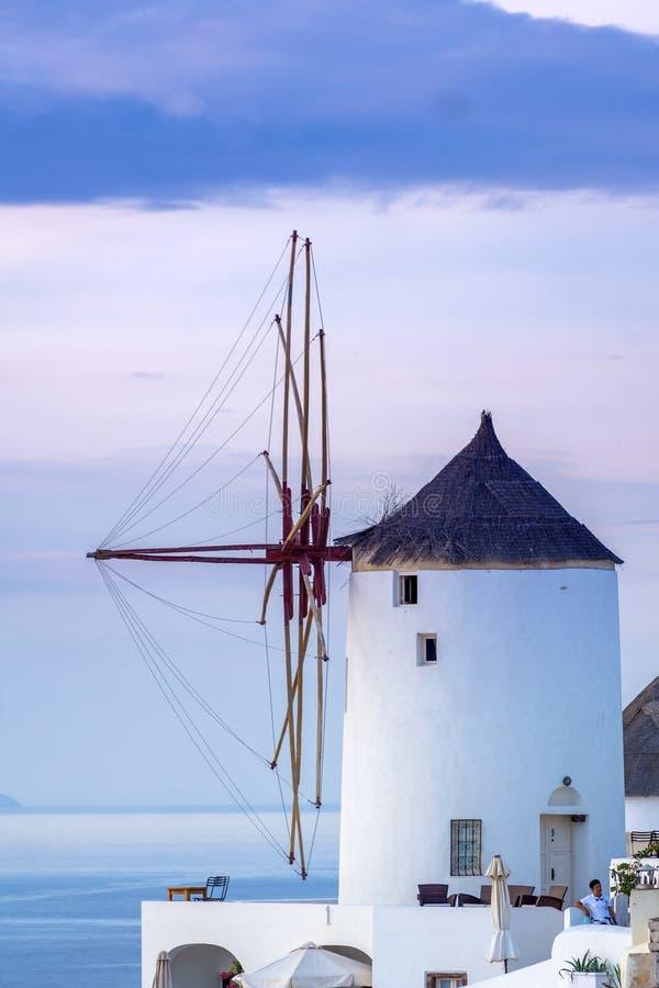 Oia village at sunset, Santorini island. Greece royalty free stock photo