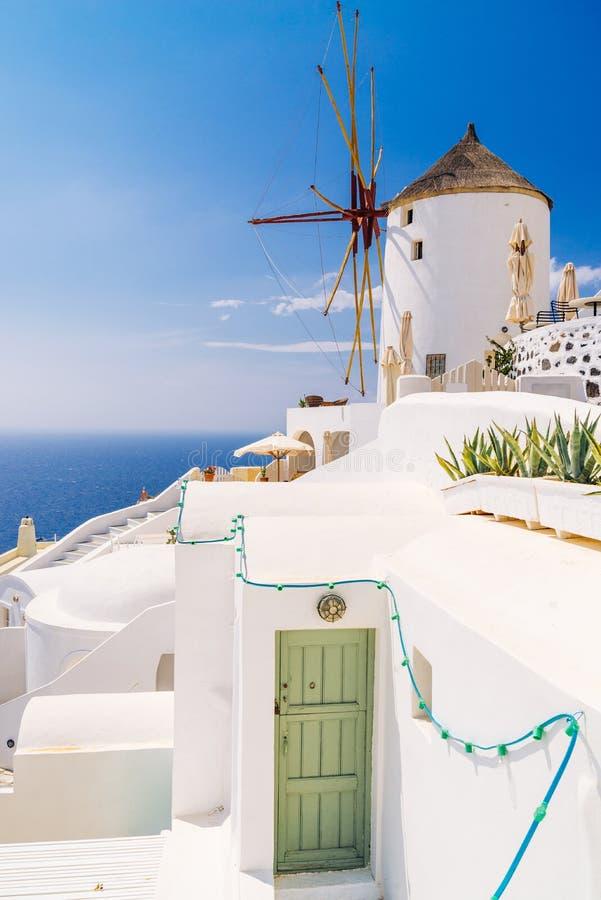 Oia windmills, Santorini stock photo