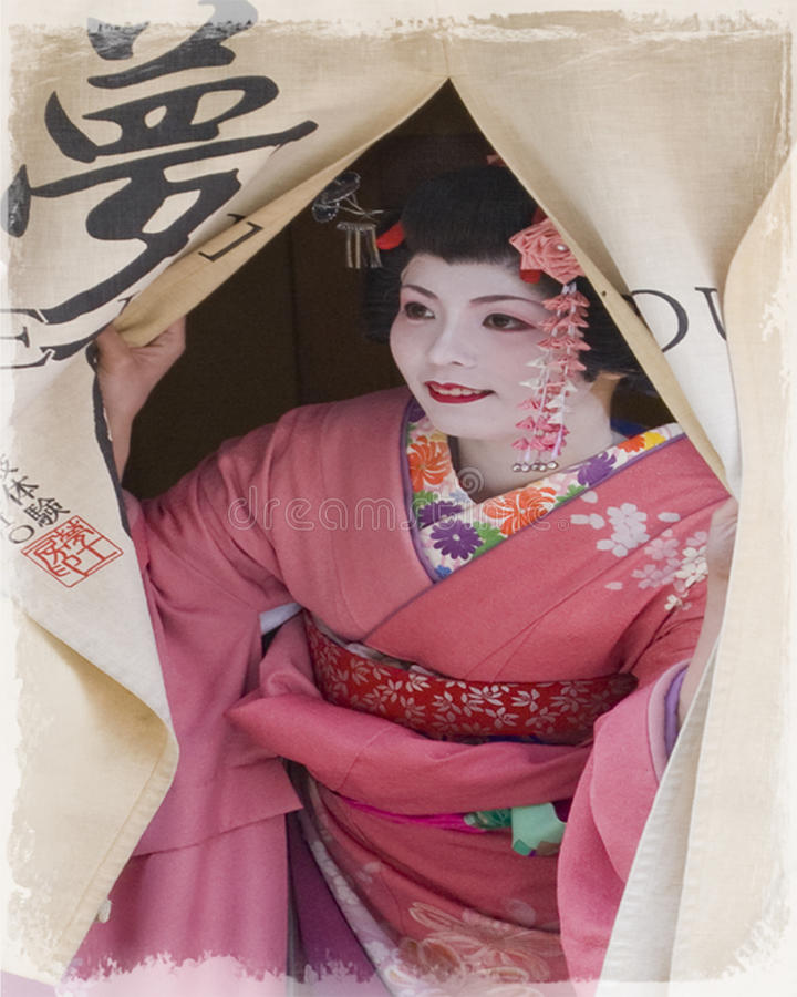 Oidentifierad härlig japanMaiko flicka eller Geisha eller Geiko fotografering för bildbyråer