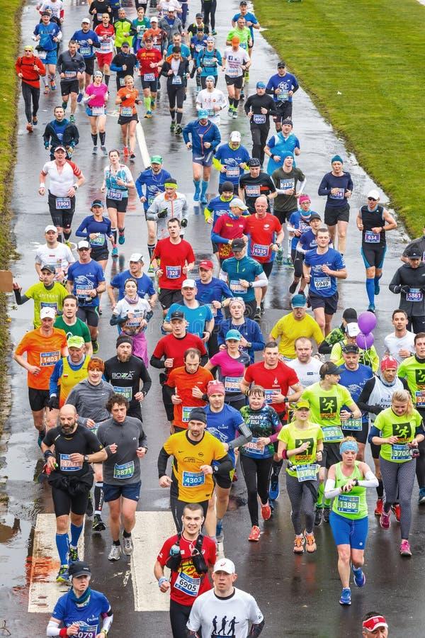 Oidentifierade löpare på gatan under maraton för 16 Cracovia royaltyfri foto