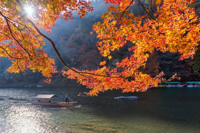 Oidentifierade turister på träfartyget tycker om höstfärger längs den Hozu-gawa floden på Arashiyama arkivbild