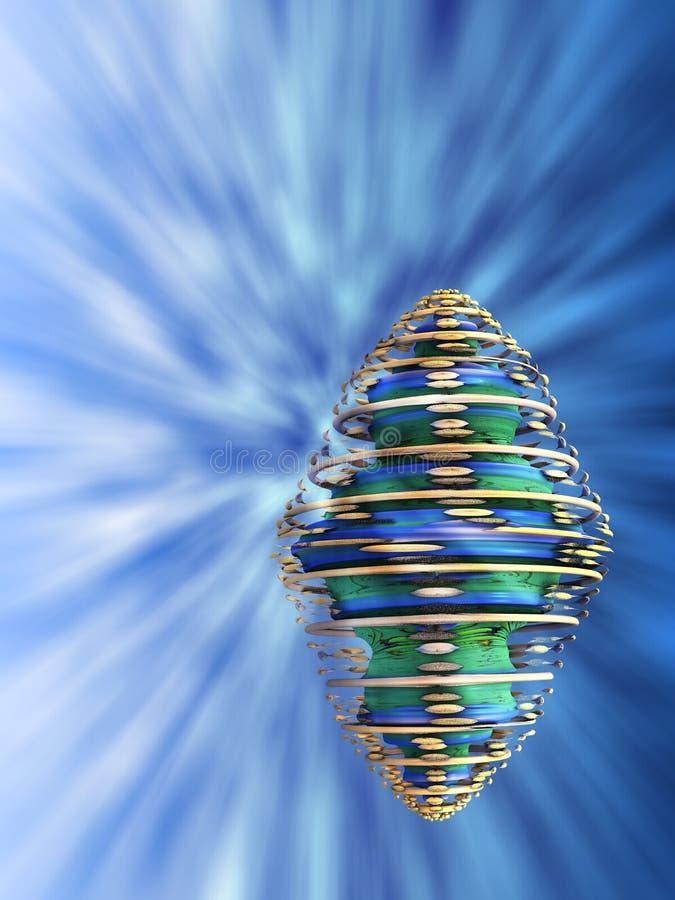 Oidentifierat Spinnng objekt i turbulent främmande himmel stock illustrationer