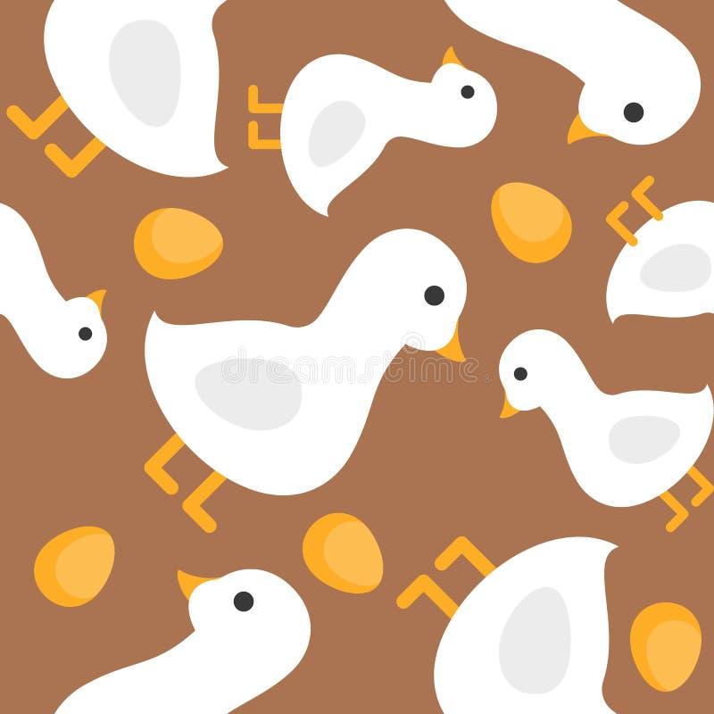 Oie et oeufs d'or de cric et du thème de tige de haricot, seamles illustration de vecteur