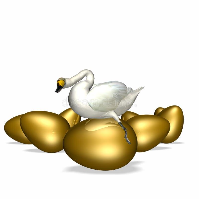 Oie se reposant sur l'oeuf d'or illustration stock