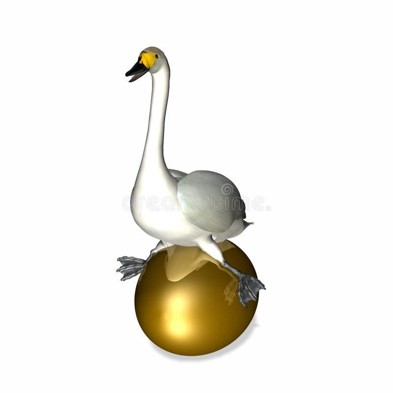 Oie se reposant sur l'oeuf d'or illustration de vecteur