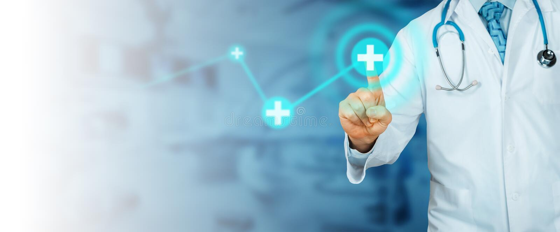 Oigenkännlig doktor Pointing Modern teknologi i sjukvård- och medicinbegrepp arkivfoton
