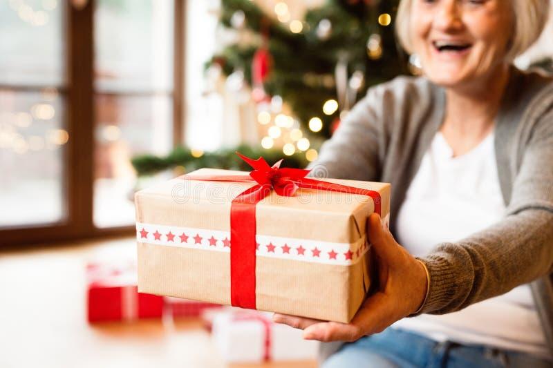 Oigenkännlig hög kvinna framme av julgranen som ger gi royaltyfri bild