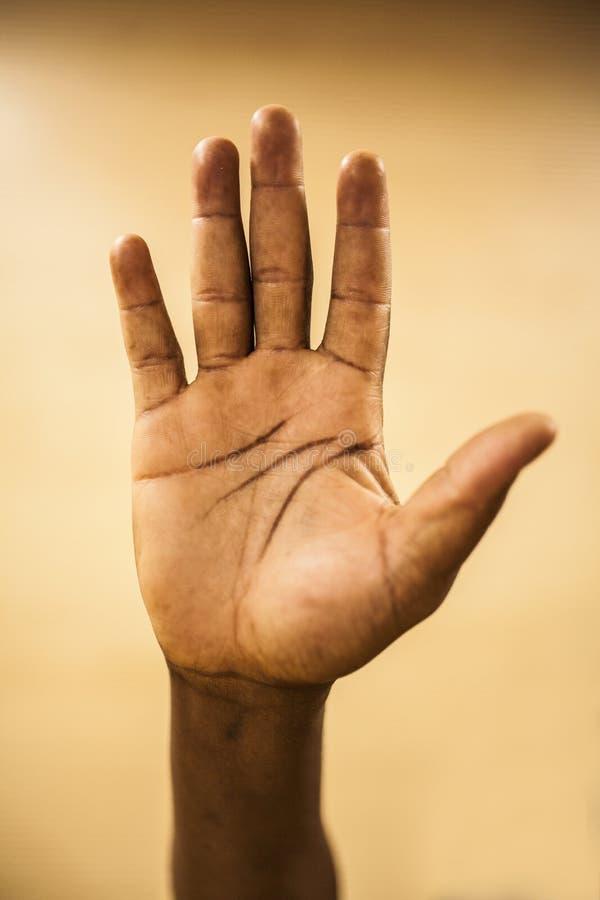 Oigenkännligt gömma i handflatan av en afrikansk man& x27; s-hand royaltyfri bild