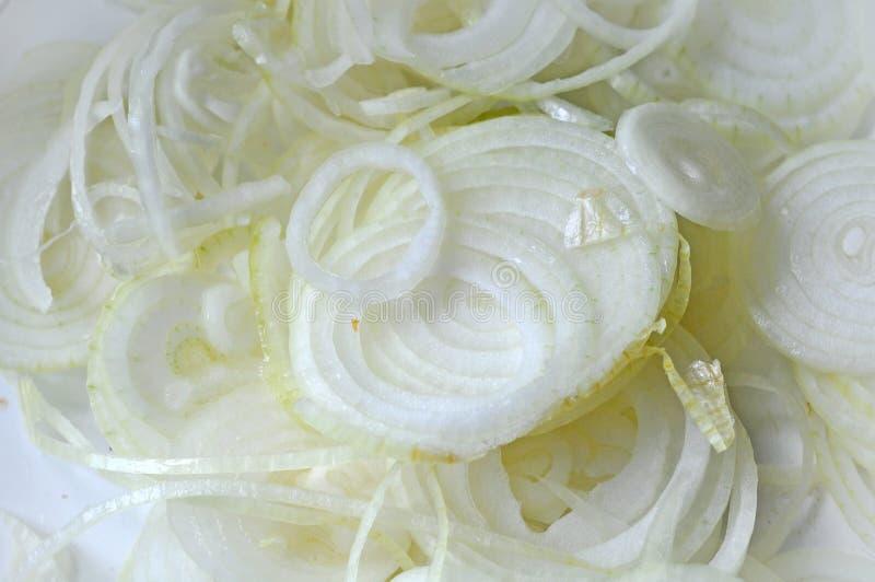 Oignon blanc coupé en tranches images libres de droits