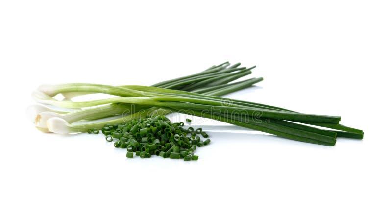 Oignon vert entier et coupé en tranches de ressort sur le blanc photo stock